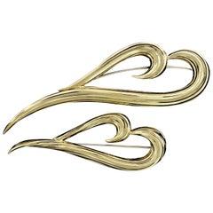 Henry Dunay 18 Karat Yellow Gold Stylized Heart Pins