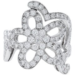 Van Cleef Arpels Diamond Pave Flower Ring 1.56 Carat