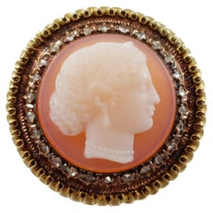 Mid-Victorian Gold and Diamond Classical Female Cameo Brooch
