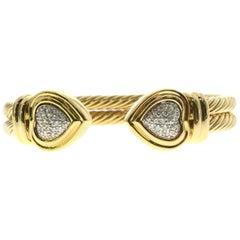 David Yurman Pave Diamond 18 Karat Double Cable Hearts Cuff Bracelet