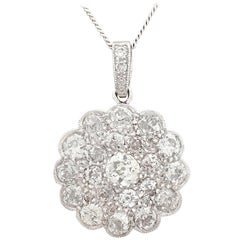 1930s Antique 2.05 Carat Diamond and White Gold Cluster Pendant