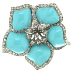 Turquoise 18 Carat White Gold Diamonds Cocktail Ring