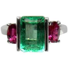 4.51 Carat Natural Colombian Emerald Ruby Ring 14 Karat Gold