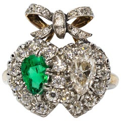 Victorian 18 Karat Gold Diamond and Emerald Ring