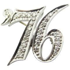 Vintage 1976 Diamond Date Pendant/Brooch 14 Karat White Gold Convertible Jewelry