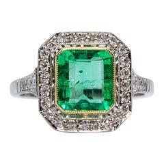 Handmade Exquisite Platinum 1.65 Carat Emerald and Diamond Ring