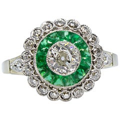 Modern Edwardian Style 18 Karat Gold Diamond and Emerald Ring
