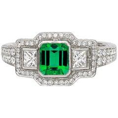 Colombian Green Emerald Handmade Diamond Engagement Ring Platinum