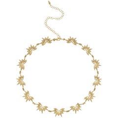 18 Karat Diamond Starburst Choker Necklace