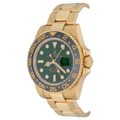 Rolex Yellow Gold GMT-Master II Green Dial Automatic Wristwatch Ref 116718LN