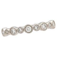 18 Karat White Gold Diamond Stackable Anniversary Wedding Band Ring