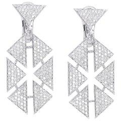 18 Karat Diamond Floating Triangle Geometric Earrings