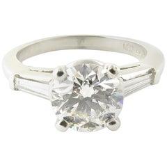 Platinum Certified Round Brilliant Diamond Engagement Ring 1.68 Carat