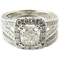 GIA Certified Cushion Cut Ring and Wedding Band Set 1.36 Carat Diamond