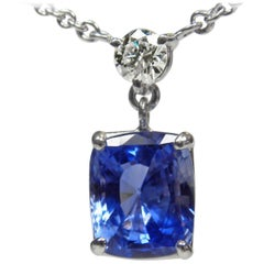 4.15 Carat Natural Blue Sapphire and Diamond Pendant Necklace Platinum 950