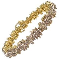 Floral Design Diamond Line Bracelet