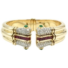 Diamond, Emerald and Ruby 18 Karat Wide Cuff Bracelet