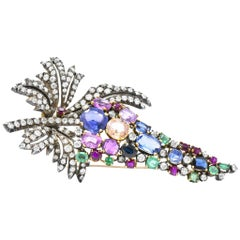 Victorian 2.25 Carat Diamond Emerald Sapphire Ruby Topaz Silver and Gold Brooch