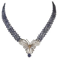 Vintage Butterfly Brooch and Iolite and 14 Karat Gold Beaded Necklace with Clasp