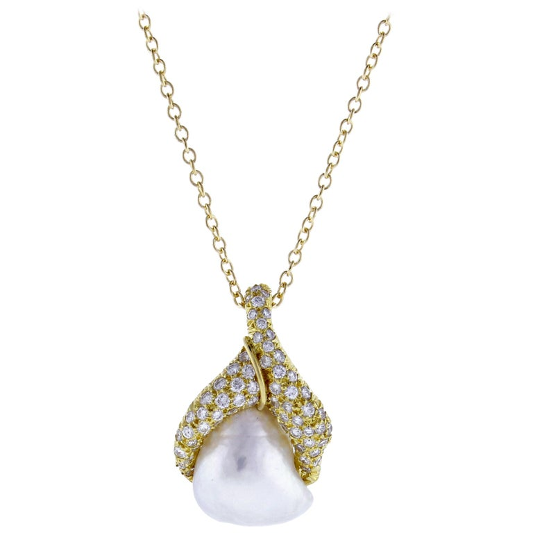 Henry Dunay Baroque pearl and Diamond Pendant