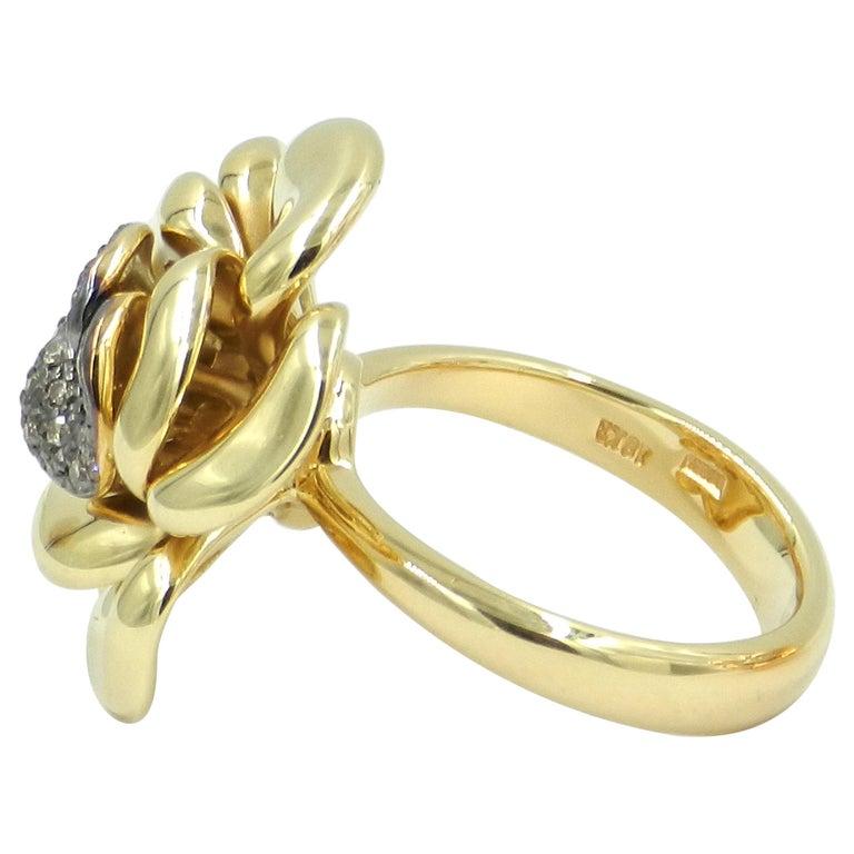 18 Karat Yellow Gold Brown Diamonds Rose Garavelli Ring