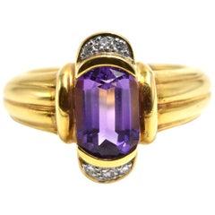 Amethyst and Diamond Ring 18 Karat Yellow Gold