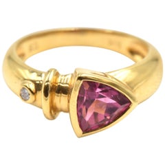 Trillion Cut Pink Tourmaline and Diamond Ring 18 Karat Yellow Gold