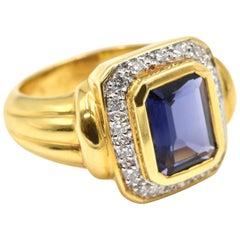 Iolite and Diamond Halo Ring 18 Karat Yellow Gold
