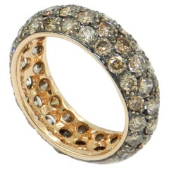 18 Karat Yellow Gold Brown Diamonds Garavelli Band Ring