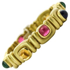 Marlene Stowe Tourmaline, Amethyst and Citrine 18 Karat Gold Gemstone Bracelet