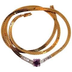 3.00 Carat Natural Pink Sapphire Cathedral Baguette Diamond Necklace 14 Karat