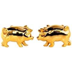 22 Karat Rare 3D Boar Pig Cufflinks or High Shine and Amazing Details