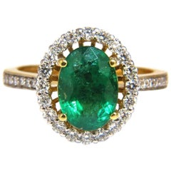 2.61 Carat Natural Oval Emerald Diamond Ring 14 Karat Halo Float Venetian Deco
