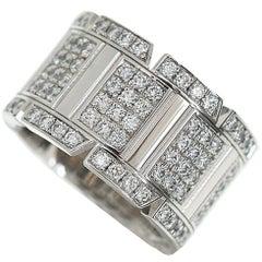 Cartier Diamonds 18 Karat White Gold Tank Française Ring