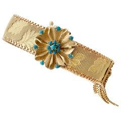 1960s Italian Turquoise and Gold Bracelet