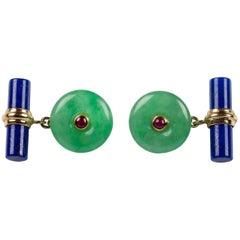 18 Karat Yellow Gold Jade and Rubies with Lapis Lazuli Cufflinks