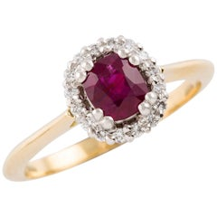 Kian Design Platinum Gold Cushion Cut Ruby and Diamond Cluster Engagement Ring