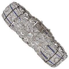 Art Deco 14.0 Carat Diamond Natural Sapphire Platinum Bracelet