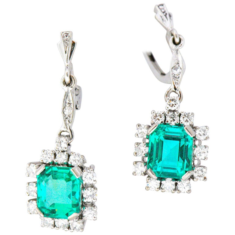3.96 Carat Colombian Insignificant Emerald Diamond 18 Karat White Gold Earrings