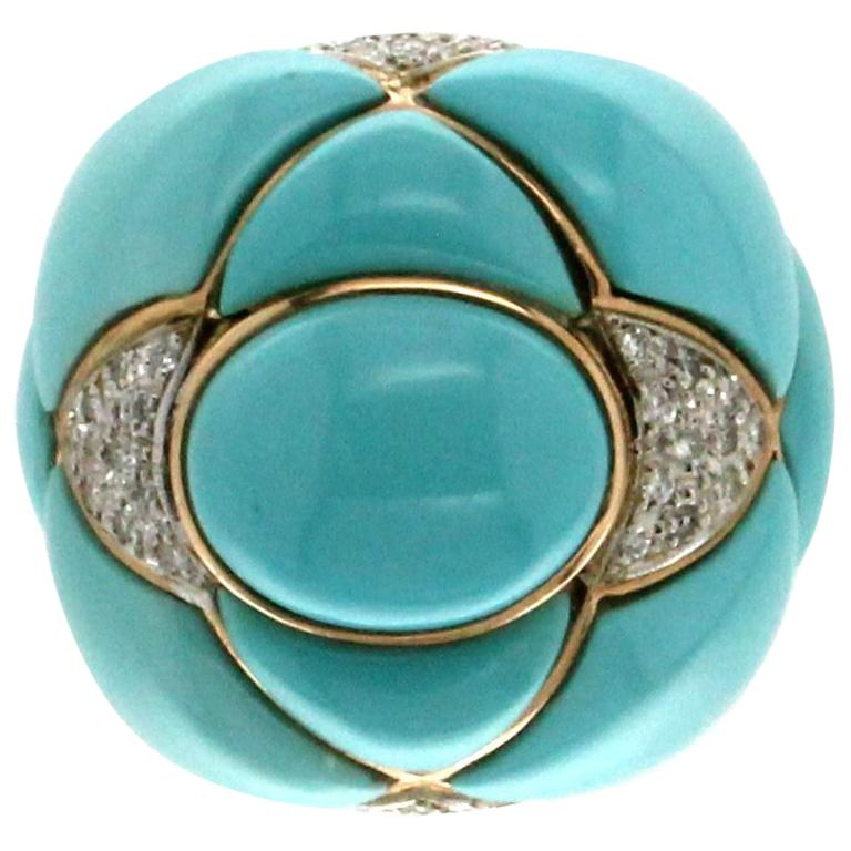 Turquoise 14 Carat Yellow Gold Diamonds Cocktail Ring