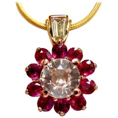 4.27 Carat Natural Pink Sapphire Ruby Diamonds Necklace 14 Karat