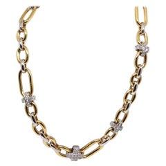 Pomellato Original Signed 18 Karat Yellow White Gold Diamond Link Necklace