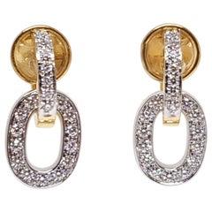 Pomellato Original Signed 18 Karat Yellow White Gold Diamond Drop Earrings