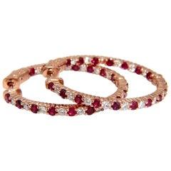 3.25 Carat Natural Vivid Red Ruby Diamond Hoop Earrings 14 Karat Rose Gold