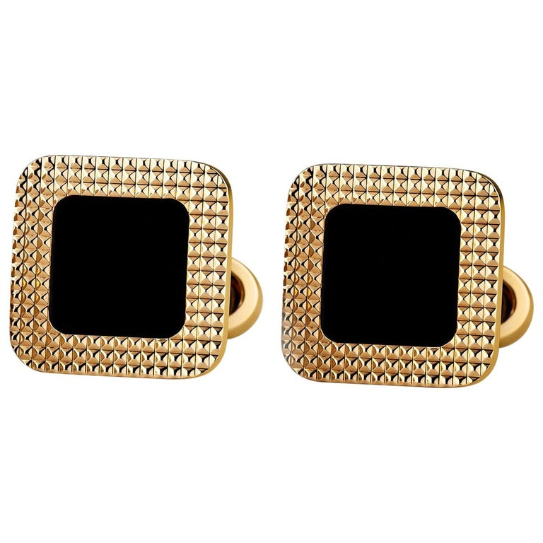 Textured Onyx and Gold Square Cufflinks