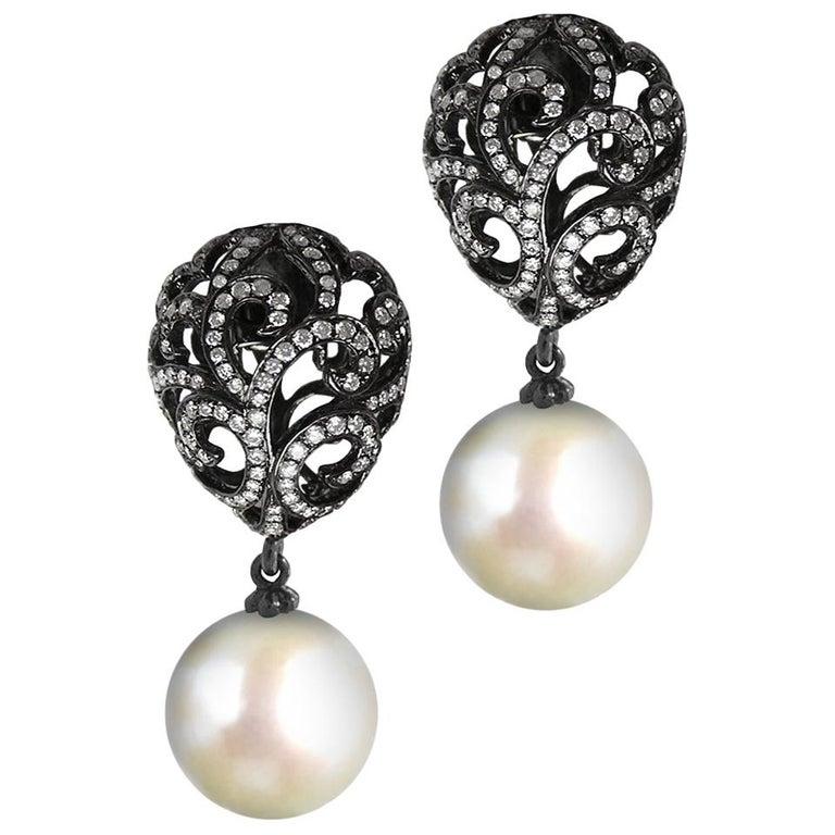 Fei Liu Diamond Small Filigree Egg 18 Karat White Gold Earrings with Pearl Drop For Sale