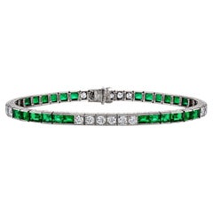 Art Deco Marcus & Co. Emerald Diamond Platinum Line Bracelet