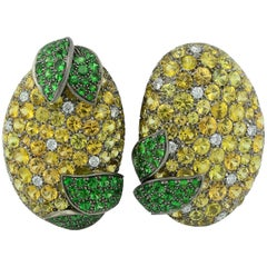 Earrings MB Titanium Diamond ct 0.86 Yellow Sapphire Tsavorite 18KT Gold  Italy