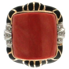 Coral 14 karat White And Yellow Gold Diamonds Cocktail Ring