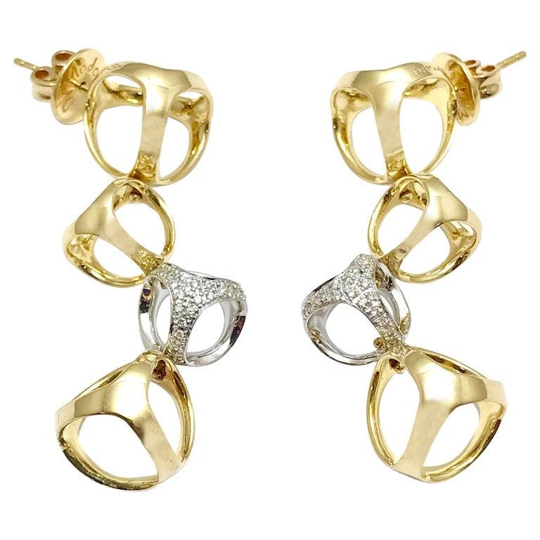 Di Modolo Triadra Diamond 18 Karat Yellow And White Gold Earrings For